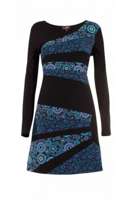Cotton dress with parts asymmetrical printed and colored in a half-circle