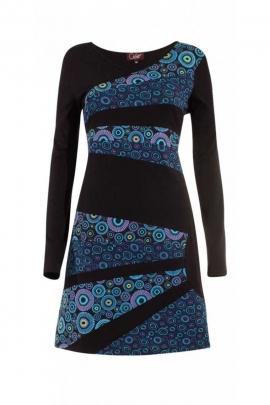 Robe en coton avec des pièces asymétriques imprimées et colorées en demi-cercle