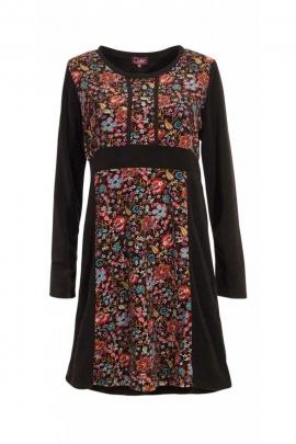 Robe d'hiver hippie chic à empiècements de velours doux et fleurs colorées