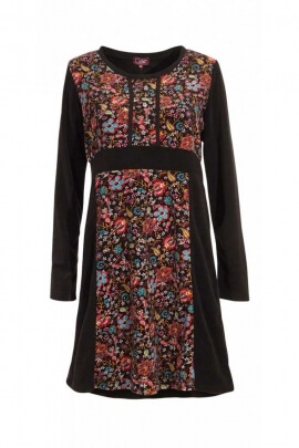 Winter dress hippie chic panels of velvet and soft colored flowers