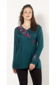 Blouse hippie chic with flower embroideries are colorful and high waist