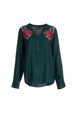 Blouse with flower embroideries colored, long sleeves and buttons