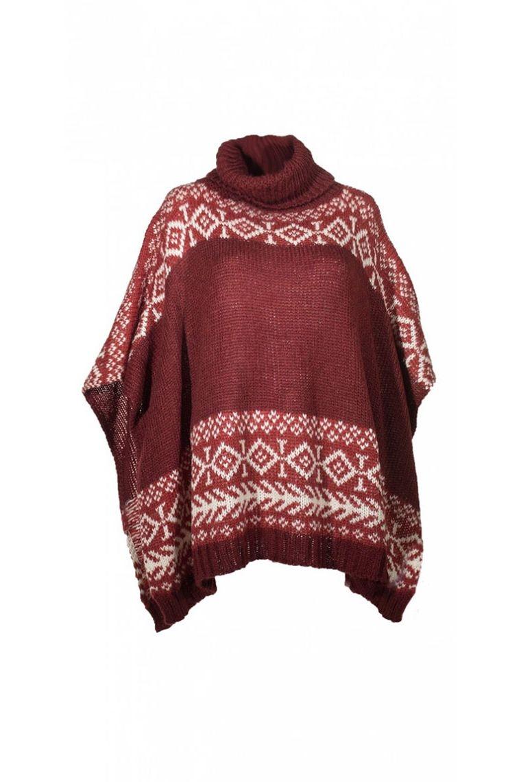 poncho laine tricoté aztèque coloré bordeau manteau veste chaude crochet motif coloré tendance standard