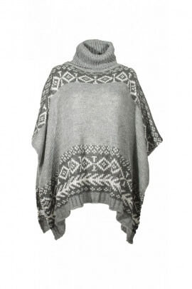 Poncho turtleneck warm, acrylic, patterns, aztec colorful