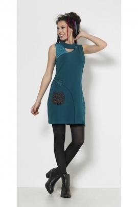 Robe originale et colorée sans manches en coton extensible, en panneau patchwork