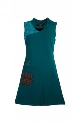 Vestido, original y colorido sin mangas de algodón elástico, el panel de remiendo