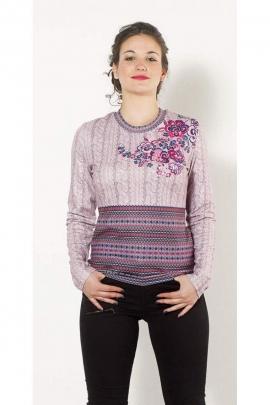 Tee-shirt chic et décontracté, effet trompe-l'œil de torsades tricotées
