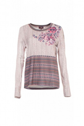 T-shirt chic and casual effect trompe-l'oeil cable-knit knitted