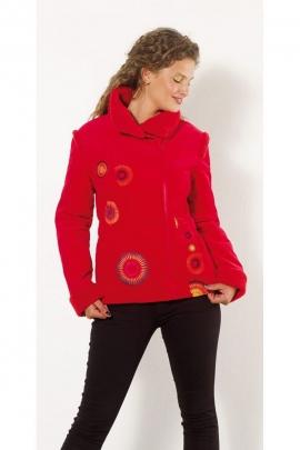 Coat chic short velvet-lined faux fur, asymmetric collapse