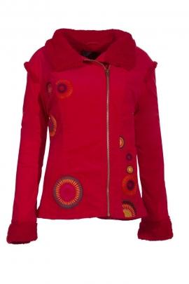 Elegante abrigo corto de terciopelo forrado de piel sintética, plegada asimétrica