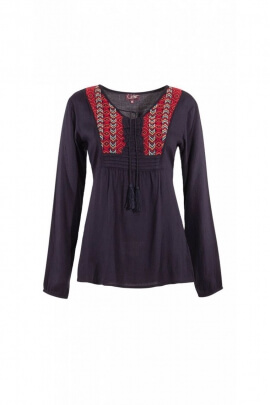Blouse ethnic and romantic with embroidery and bib, style, hippie chic