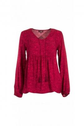 Chemisier blouse décontracté et original, avec lacets et pompons, manches bouffantes
