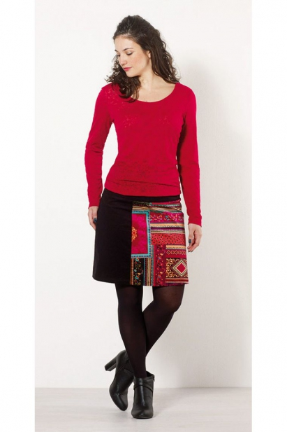 Short skirt in corduroy, patchwork of autumnal colours, feminine and romantic