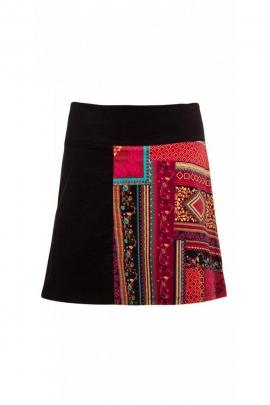 Jupe courte en velours, patchwork de couleurs automnales, féminine et romantique