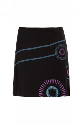 Jupe courte noire en coton et élasthanne aux motifs floraux romantiques