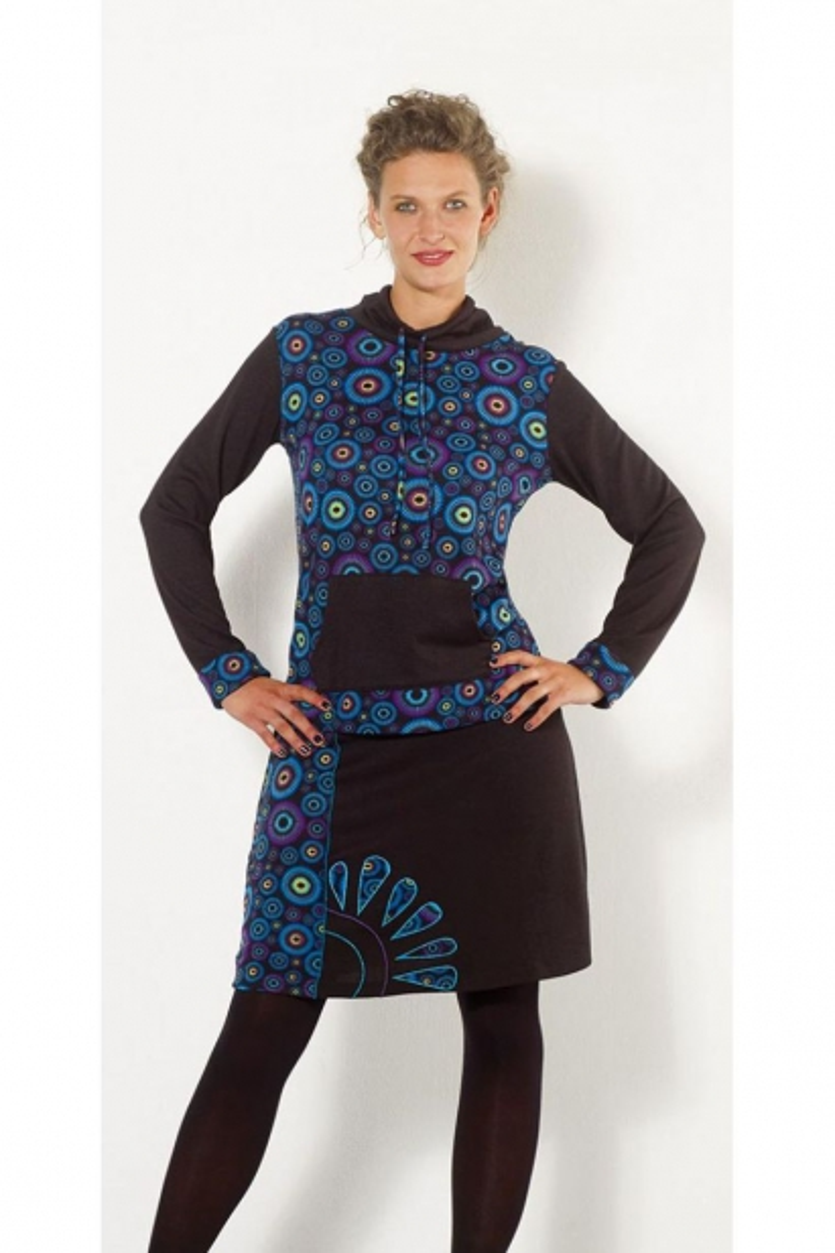 Pull en maille de polyester, motifs colorés, poches kangourou, style baba cool