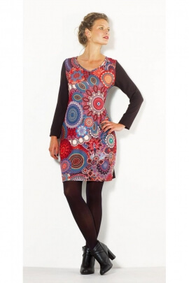 Dress slim fit casual long sleeve, printed roses, vibrant
