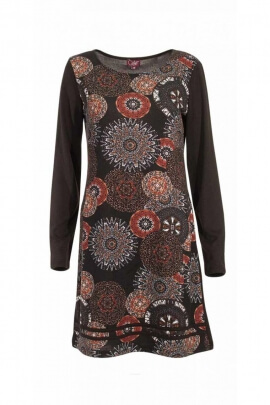 Robe ajustée hippie chic, manches longues, imprimé rosaces afro