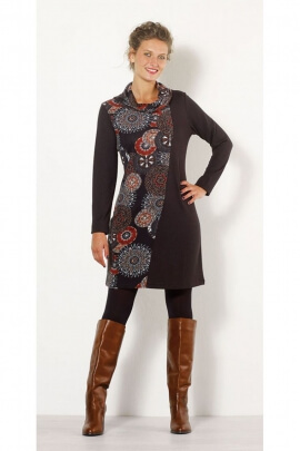 Dress cowl neck casual, long sleeve, printed rosettes afro