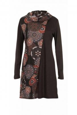 Robe col bénitier décontractée, manches longues, imprimé rosaces afro