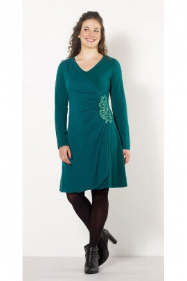 Très belle robe féminine drapée, effet portefeuille, col V