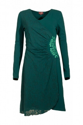 Very beautiful feminine dress, draped, wallet effect, V-neck collar