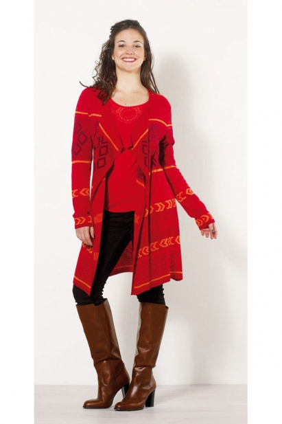 Jacket open in mid-long and relaxed, autumnal colors and ethnic motives