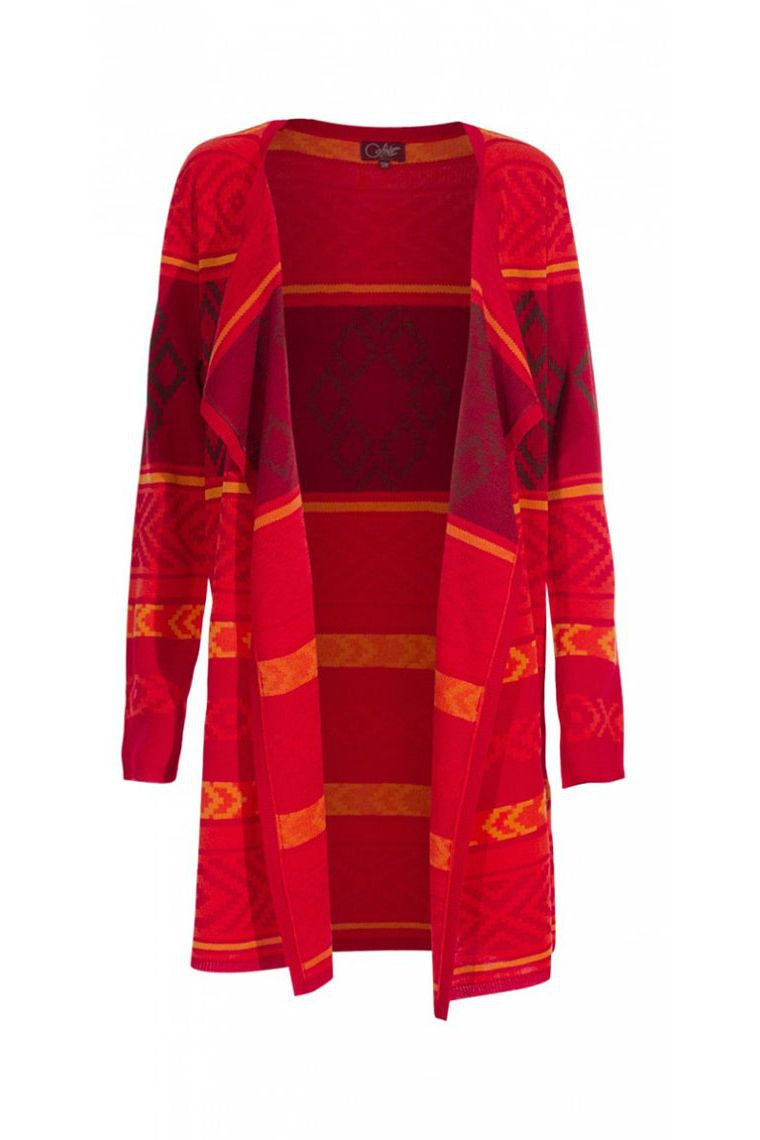 veste longue ouverte stylée colorée motif chaud pull laine tendance pas cher