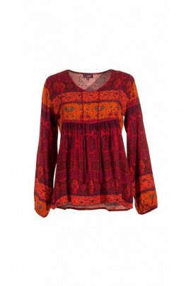 Blouse casual indian-style, bib and hook
