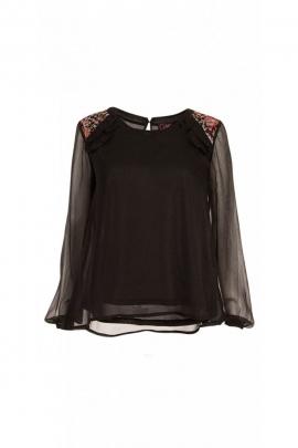Blusa en gasa para la noche, elegante y original con toques de vela