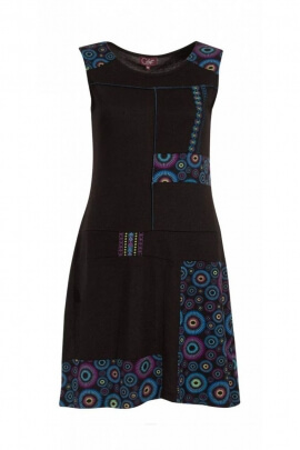 Dress casual, original, sleeveless, circular patterns colorful