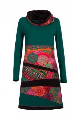 Robe hippie chic originale, col roulé, manches longues, motifs rosaces