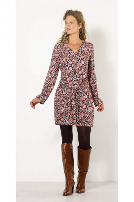 Dress ethnic chic style spring long sleeves, and colorful pattern
