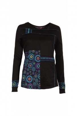 Sweater for women, patchwork and colorful overlock, long sleeves