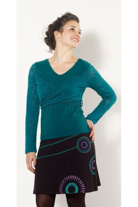 T-shirt uni cotton jersey, cache-coeur draped original, seamless sleeves