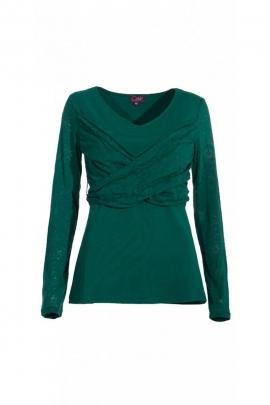 Tee-shirt uni en jersey de coton, cache-cœur drapé original, manches transparentes