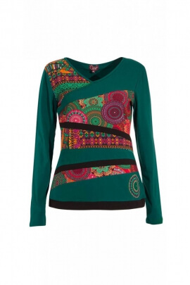 Tee-shirt original et décontracté, à manches longues, style dynamique, motifs colorés