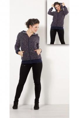 Veste chaude zippée en tricot, style sweatshirt, capuche doublée et à motif fleuri