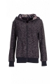 Warm jacket zipped knit, style, sweatshirt, lined hood and a floral pattern
