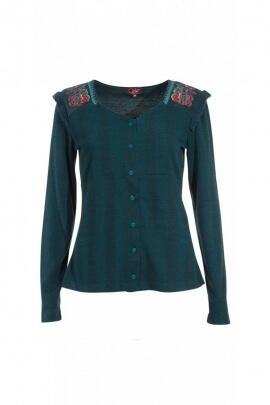 Embroidered jacket flower buttons, for women, style, hippie chic