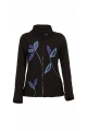 Fleece jacket casual, indie flower leaves patched