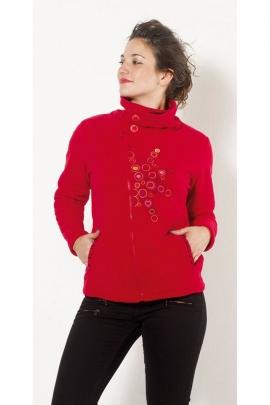 Fleece jacket zipped asymmetric, original and colourful, collar