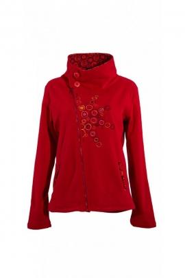 Veste polaire zippée asymétrique, originale et colorée, col montant