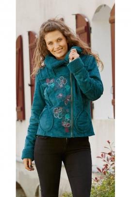 Veste manteau courte brodée, très chic et originale, doublure en fausse fourrure