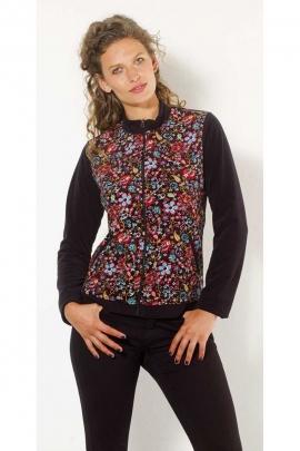 Chaqueta de terciopelo, muy suave, motivos florales, colorido, col mao