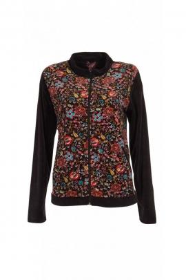 Veste en velours, terriblement douce, motifs fleuris colorés, col mao