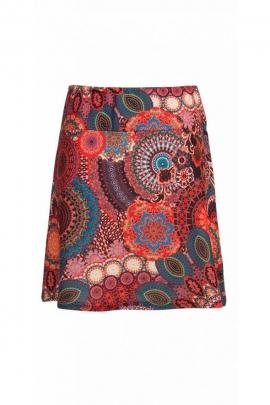 Jupe courte bohème et ethnique, motifs mandalas colorés