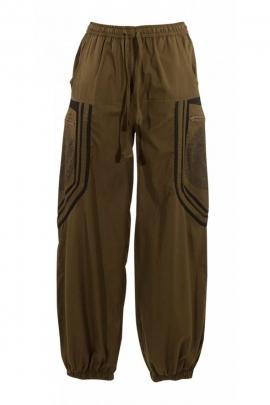Pantalones Harem, mezclados con algodón, estilo étnico y original, gran bolsillo de los patrones de mandalas
