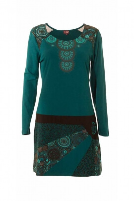 Vestido de aspecto tribal, bohemio, casual, de manga larga, patrones de colores