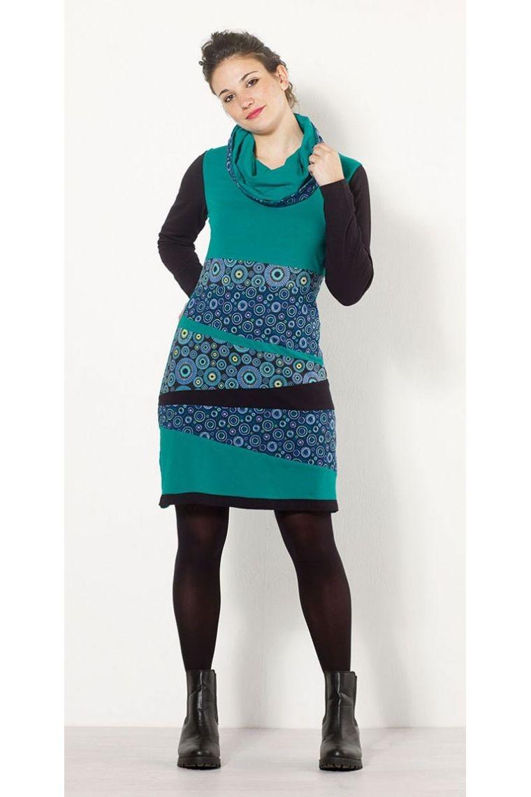 Vestido, el look urbano, con étnicas y casual, colorido patrón, mangas largas